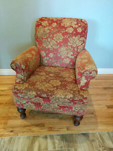 Muted Red and Gold pair Armchairs