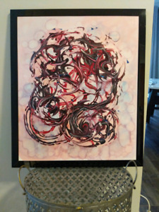 Abstract acrylic painting framed with or without glass