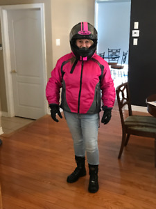 Women's Motorcycle Jacket, helmet, and gloves