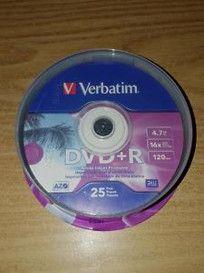 Verbatim- DVD+R 4.7GB 16X White Inkjet Printable, Hub Printable