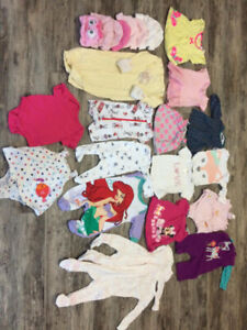 baby girl clothing 0-3 & size 1 diapers