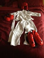 Karate uniform with sparring gear