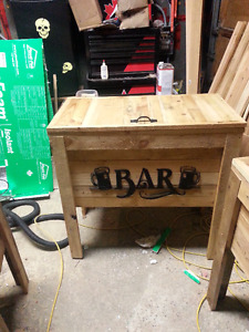 Rustic wooden cooler