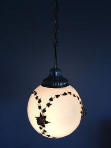 60s vintage swag lamp, white pendant light w/ round glass shade