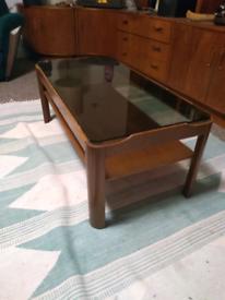 Myer Retro Danish teak smoked glass coffee table