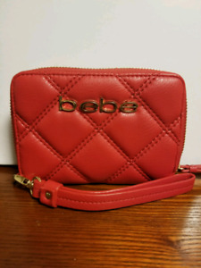 Bebe Red Quilted Zipper Wallet