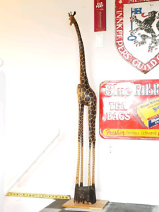 "Over 5 Foot Hand Carved Wooden Giraffe ""ESTATE LIQUIDATION"""
