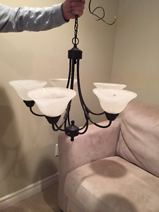 Kitchen/ Dining room chandelier light. 5 globes. $30