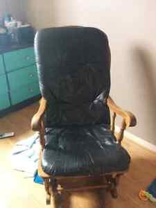 Solid wood rocker with leather cushion