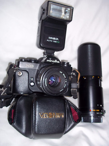 Minolta / Fujica Cameras / 200 mm zoom lense / Flashes