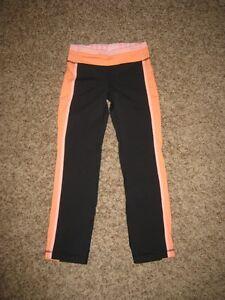 ☆LULULEMON☆ Pant 7/8 Crop Black Pop Orange Bleached Coral Size 4