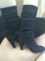 SUEDE HIGH HEELED BOOTS NAVY - SIZE 7
