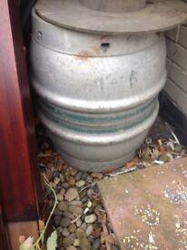 Large vintage beer kegs