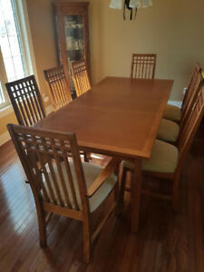Beautiful Teak Dining Room Table Chairs And Hutch