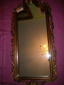 "Superbe miroir antique/1940, style Louis XVI, grand 27""x60"" doré West Island Greater Montréal image 9"