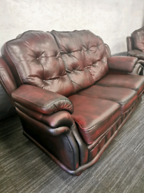 Chesterfield sofa, chair & footstool Local Delivery Available