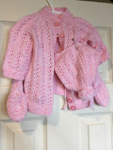 Knitted Pink 3pc Sweater Set