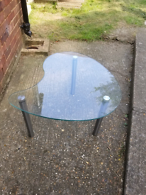 Glass kidney shape coffee table