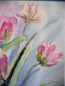 """Summer Flowers by M. Knox """"Pretty in Pink"""" Watercolor, 1970 Stratford Kitchener Area image 8"""