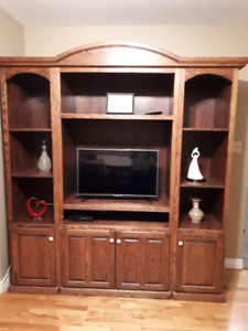 Solid maple TV wall unit
