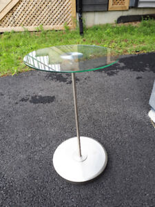 Stylish Glass and Stainless Steel Side Table