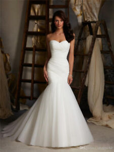 Sexy White Mermaid Wedding Dress, Size 24W