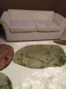 off white suede couch/hideabed $150 like new Edmonton Edmonton Area image 1