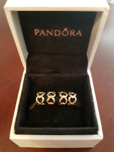 Authentic Pandora 14k gold heart spacer charms