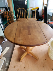 Wood table and 2 chairs