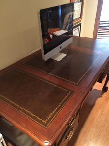 Solid Wood desk with leather insets