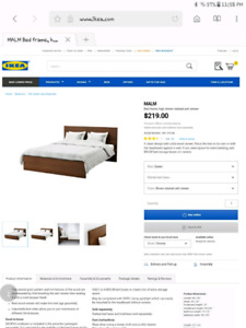 Queen bedframe with headboard MALM