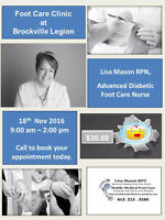 Mobile Medical Foot Care Clinic   Will be at The Brockville Legi