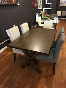 Brand New Compact Solid Wood Live edge harvest Dining Table