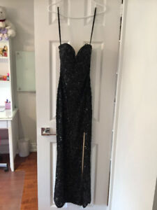 Black Sequined Scala Gown