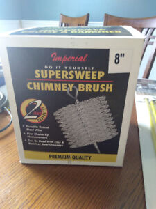 """BNIB 8""""  Chimney sweep brush and 30ft of rods."""