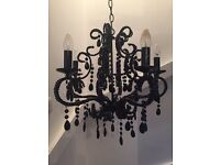 BLACK GLASS AND BEAD 5 ARM CHANDELIER