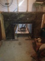 Antique solid wood fire place mantel and logs $150.00