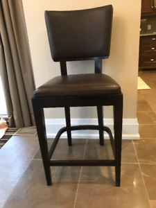 Walnut Finish Bar Stool with Faux Leather Seat & Back