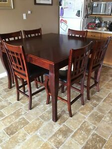 Pub table and 6 chairs