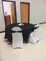 WEDDING!!! White spandex Chair Covers/Blk Round Tablecloths