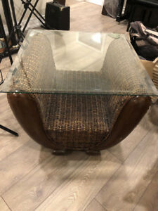 Glass and Wooden Side Table