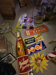 Garage Full Of Vintage Signs, Oil Cans, License Plates ….
