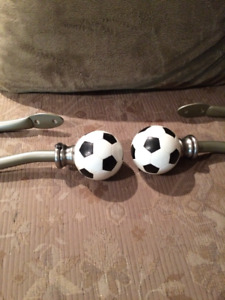 Soccer Ball Curtain Tie Hold Backs (set of 2)