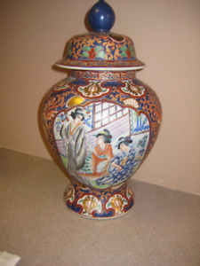 Chinese Painted Vase with Lid