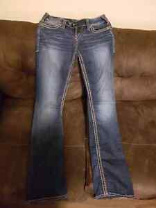 Faded Medium Wash Flared Silver Jeans