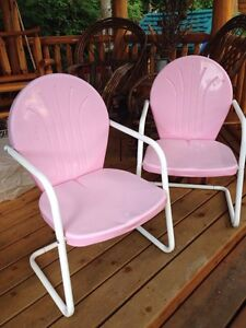 Pair of Retro Metal Lawn Chairs