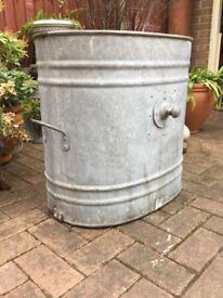 1930s galvanised LARGE wash tub, garden planter