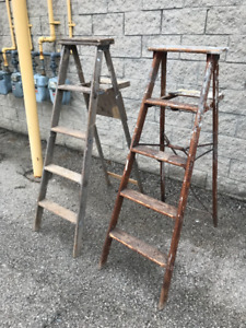 2 VINTAGE WOOD LADDERS EACH 55 INCHES TALL