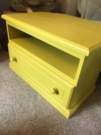Retro vintage tv cabinet stand with drawer, solid pine