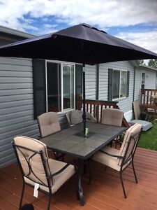 Metal and tile patio table set for 6